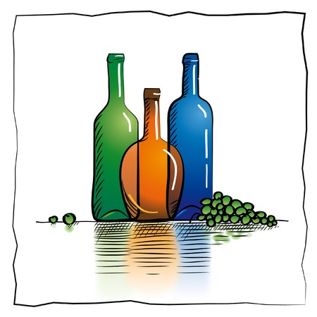 goblet: Coloful wine bottles and a goblet sketch Stock Photo