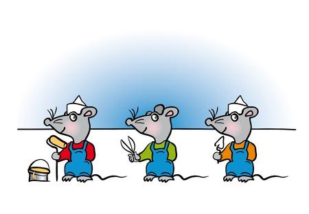 handyman cartoon: Mice handyman cartoon