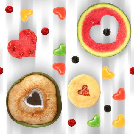 Heart shaped fruit and sweets seamless pattern tile photo