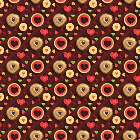 Heart shaped fruit and sweets seamless pattern applied photo
