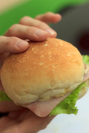 dof: Natural lighting photo of hands holding sandwich, shallow DOF
