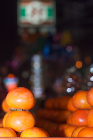 shifted: Blur background of Bangkok night market with shifted focus Stock Photo