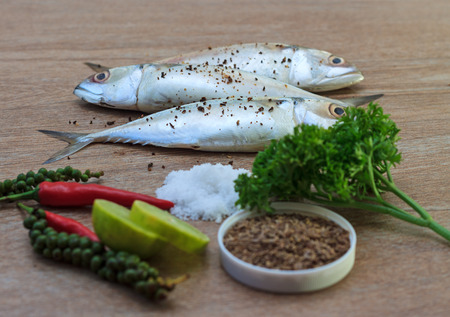 bluefish: Fresh tuna with fresh pepper, salt and herbs ready for cooking on wooden background, selective focus view 2 Stock Photo