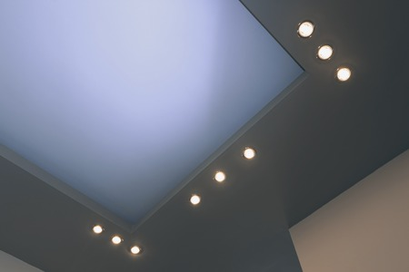 ceiling lamps: Modern layed ceiling with embedded lights, view 2
