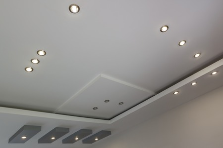Modern layed ceiling with embedded lights, view 4 Stock Photo