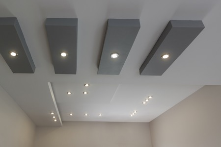 Modern layed ceiling with embedded lights, view 6