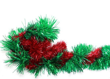 festoon: Green and red Christmas tinsel with copy space, view 2