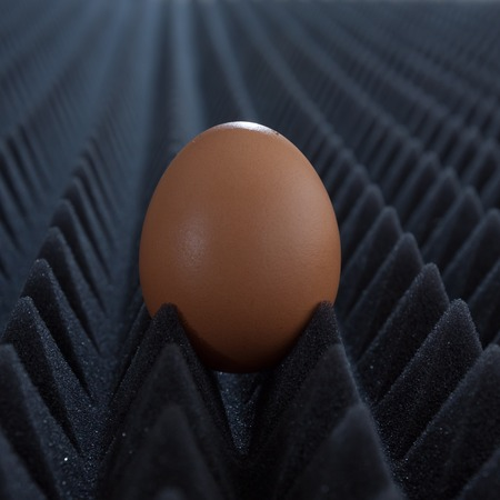 bumpy: one egg on abstract bumpy black background with perspective closeup