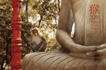 buddha face: New year 2016 card with special toned photo of monkey sitting on statue of Buddha in park with chinese hieroglyph for monkey, horizontal view