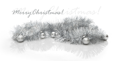 grey scale: Christmas greeting card made of silver tinsel with silver christmas balls