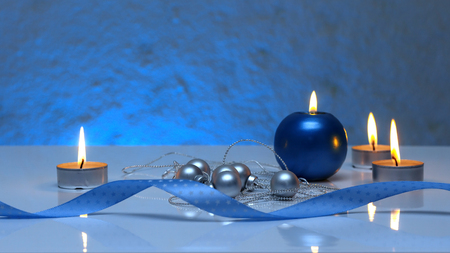tea candles: Greeting card template made of blue and tea candles, silver christmas balls, silver string of beads and blue ribbon in front with copy space