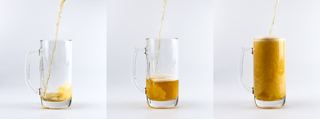 carbonation: Set of three beer glass mugs against white background. Filling glass mugs with beer sequence.