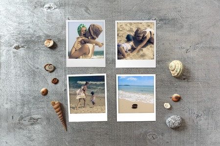 snapshots: Beautiful seaside snapshots arranged on rustic wooden background with seashells around with copy space, top view