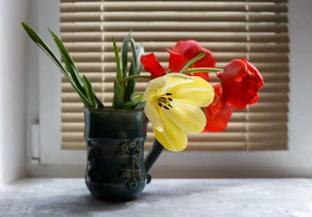 louver: Bouquet of red and yellow spring tulips in beautiful ceramic vase against window with louver shutter, close up selective focus, horizontal view