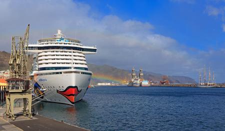 SANTA CRUZ, TENERIFE, SPAIN - NOVEMBER 12, 2018: The cruise liner Aida Perla docked in the harbor of Santa Cruz de Tenerife