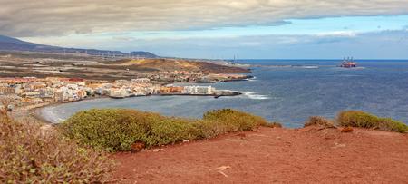Panoramic view of El Medano beach, Tenerife, Spain from Montana Roja wiewpoint