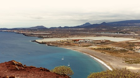 Panoramic view of La Tejita beach from Montana Roja, Tenerife, Spain