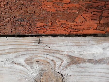 Various wooden background including fresh planks and rough grunge painted flooring Standard-Bild