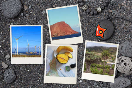 Beautiful snapshots of various Tenerife landscapes and landmarks arranged on black Canarian volcanic background with rocks and sand