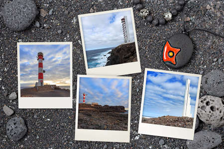 Tenerife lighthouses arranged on black Canarian volcanic background with rocks and sand