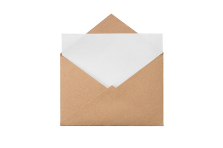 A craft envelope with with a blank sheet, isolated white at the studio