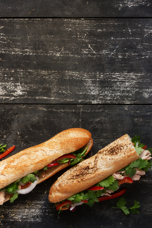 two on top: Two tuna sandwich with cilantro, onions, peppers on dark wood background, top view upright
