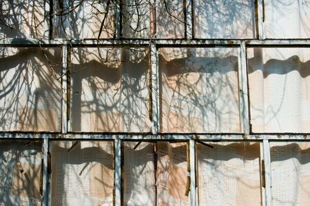 Part of the wall of an old uninhabited wooden house. The Windows are closed with curtains and wooden bars. Dry branch of a Bush