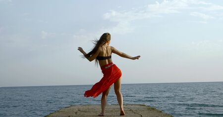 Young long-haired beautiful girl who is on the background of the sea and the sky, she wears a top and a long Oriental skirt. Shes back, dancing, the wind ruffles her hair and skirt. Archivio Fotografico