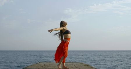 Young long-haired beautiful girl who is on the background of the sea and the sky, she wears a top and a long Oriental skirt. Shes back, dancing, the wind ruffles her hair and skirt. Stok Fotoğraf
