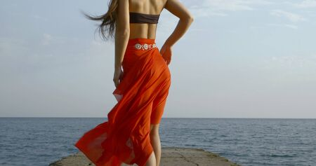 slim woman is standing on sea shore, back view on her beautiful legs and ass, her long silk skirt is swaying by wind Stock Photo