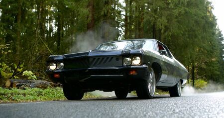 black luxury classic auto is moving on road in forest in autumn day, tilt up view, slow motion shot
