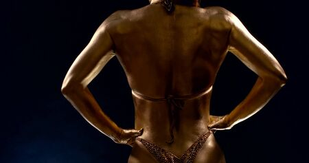 sportive body of muscular woman, covered golden dye, rear view