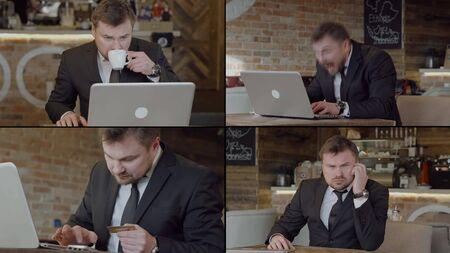 Collage, business man in a suit, jacket, shirt. He sits in an atmospheric cafe with a laptop, drinks coffee, adjusts his tie, gets emotional, is very happy, thinks, enters a Bank card. Reklamní fotografie