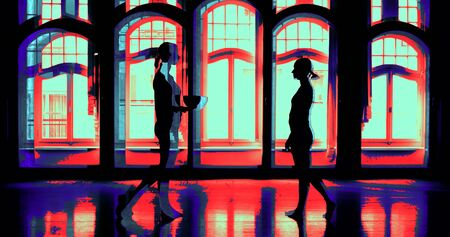 female black silhouettes against arched Windows. the women are approaching. one passes the singing bowl to the other. the image is split. the colors change