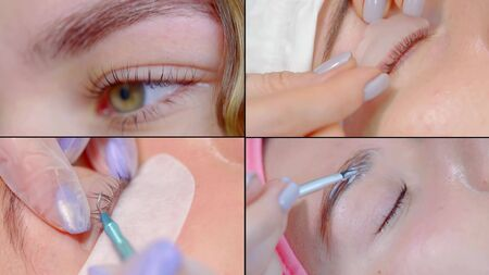 Collage, multi-shot, close-up of the face of a girl who is in a beauty salon and does the lamination of eyelashes and the shape of the eyebrows with gel.