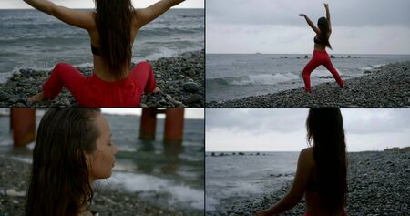 Collage, multi-shot of a young long-haired girl who is located by the sea on a rocky, shingle beach. She does yoga, sports, and meditation there. And jumps against the background of the swaying sea.