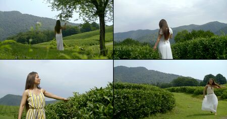 multi-shot of a young long-haired girl who is in a green field among the mountains, her clothes are calm colors, she enjoys nature and a Sunny day. Walks, runs and jumps, rogue leaves and grass.