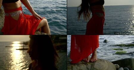 Collage, multi-shot of a long-haired girl who is located by the sea on a pebble beach. She's meditating there. And dancing an Oriental dance against the background of the swaying sea and sky. Her hair flutters in the wind.