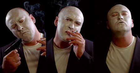 adult mad man with white dye on face is smoking and aiming by gun to head, three shots collage Stock Photo