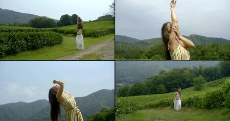 walking of tourist woman on mountain tea plantations in ecological area, collage shot, enjoying nature and good weather