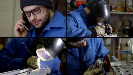Collage close-up of a male welder in a hard hat and glasses, protective suit and gloves, who is engaged in argon welding. Hes on the phone.