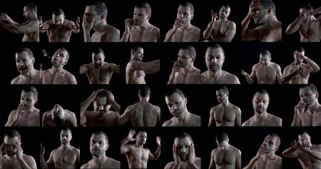 male actor is demonstrating different emotions and images with white makeup, collaged shot Reklamní fotografie
