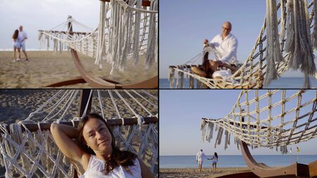 summer time at sea shore, happy man and woman are relaxing on beach, collage shot