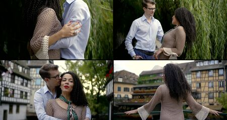 lovers walking and embracing in city streets, multi ethnic pair in love, collage