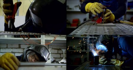 Collage close-up of a smiling male welder in a hard hat and glasses, protective suit and gloves, who is engaged in argon welding. There is a selection of parts, welding on metal, hammering