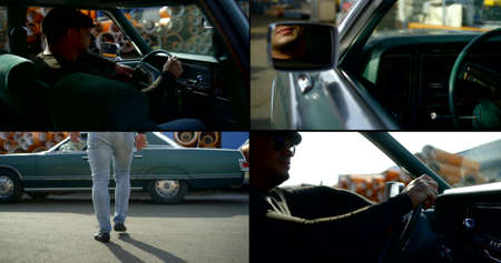 a collage of four videos. a man of athletic build in a cap and glasses approaches the car. he gets behind the wheel, looks in the rearview mirror