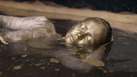 tender woman with gold skin is floating in big bath, shiny colored face and hair, portrait