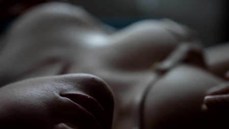 voluptuous woman with big breasts in sexy bra, closeup view of bust and lips, sex and excitement