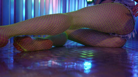 Close-up of the female body of a in pantyhose in a large mesh, she is dressed in shorts denim shorts. She makes plastic movements and poses by slapping her butt.