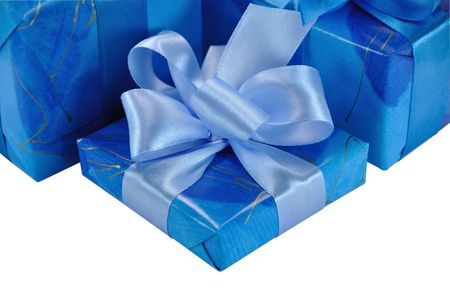 festively: One Blue Gift Box with Bow Isolated on White
